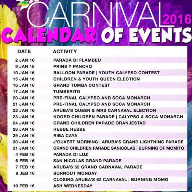 Aruba Carnaval 2016 programación